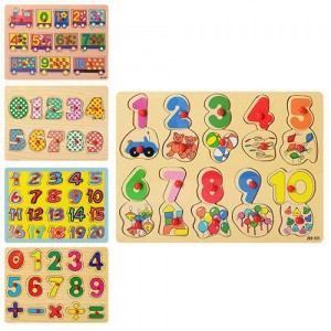 Деревянная игрушка Рамка-вкладыш Цифры MD 0646