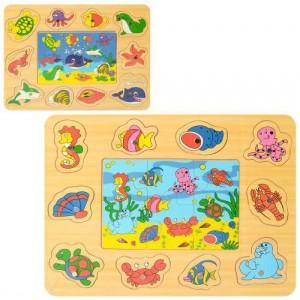 Деревянная игрушка 2в1 Рыбалка, пазлы MD 2349