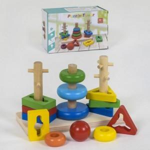Деревянная логическая пирамидка Геометрика С 39372
