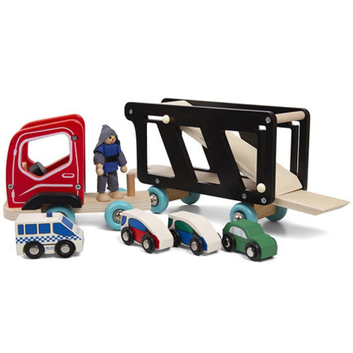 Деревянная игрушка Трейлер-автовоз