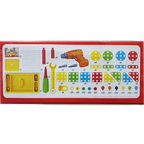 Конструктор мозаика c шуруповертом и столом 263 деталей 676a