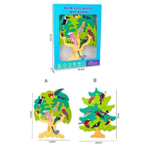 Деревянная игрушка Bird tree puzzle DIY blocks 2305-93