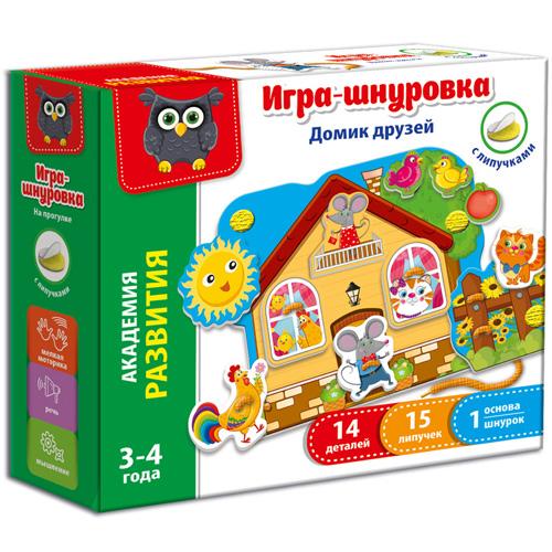 Игра-шнуровка с липучками Домик друзей VT5303-01